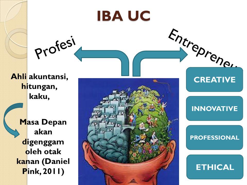 IBA UC Entrepreneur Profesi Ahli akuntansi, hitungan, kaku, Masa Depan akan digenggam oleh otak kanan (Daniel Pink, 2011)