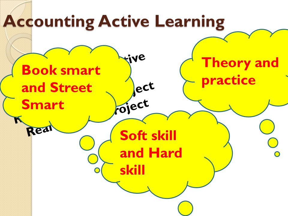 Accounting Active Learning Creative and Innovative Learning Method Real Accounting Project Real business project Book smart and Street Smart Soft skil