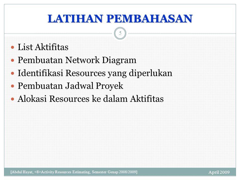 LATIHAN PEMBAHASAN List Aktifitas Pembuatan Network Diagram Identifikasi Resources yang diperlukan Pembuatan Jadwal Proyek Alokasi Resources ke dalam Aktifitas April 2009 5 [Abdul Hayat, Activity Resources Estimating, Semester Genap 2008/2009]
