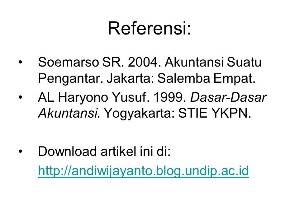 Referensi: Soemarso SR. 2004. Akuntansi Suatu Pengantar. Jakarta: Salemba Empat. AL Haryono Yusuf. 1999. Dasar-Dasar Akuntansi. Yogyakarta: STIE YKPN.