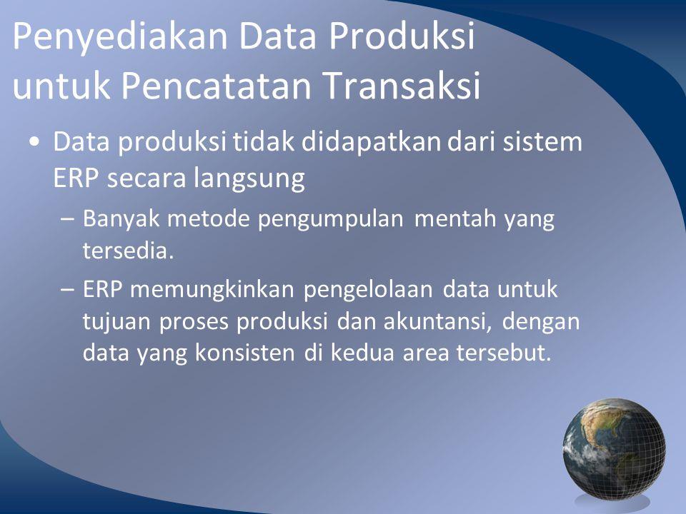 M0254 Enterprise Resources Planning ©2004 Penyediakan Data Produksi untuk Pencatatan Transaksi Data produksi tidak didapatkan dari sistem ERP secara langsung –Banyak metode pengumpulan mentah yang tersedia.