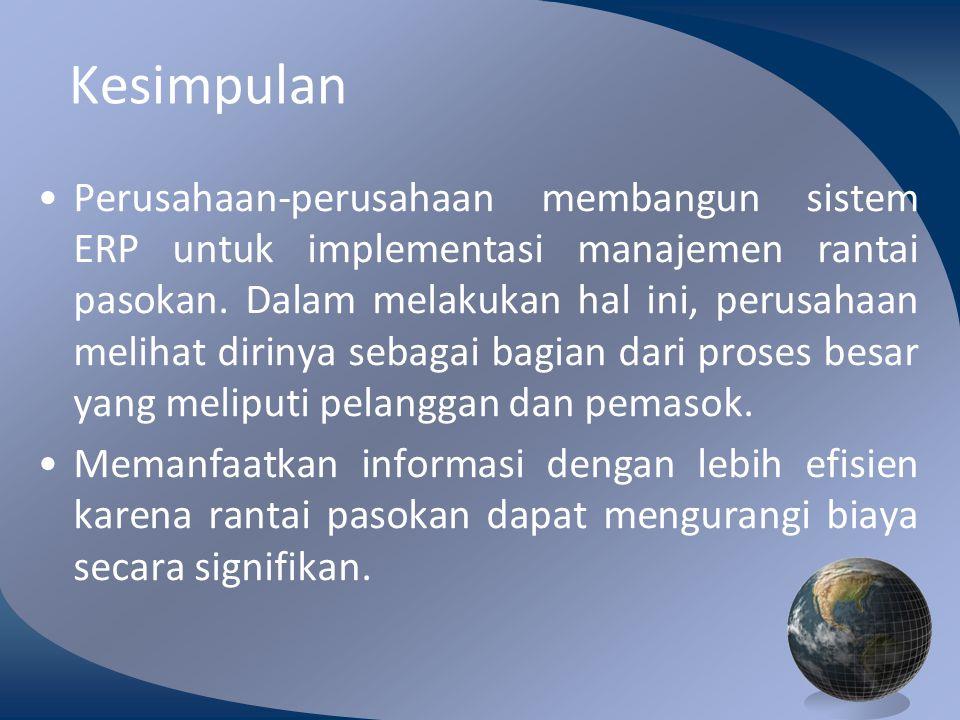 M0254 Enterprise Resources Planning ©2004 Kesimpulan Perusahaan-perusahaan membangun sistem ERP untuk implementasi manajemen rantai pasokan.