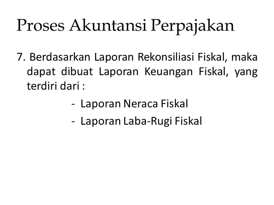 Proses Akuntansi Perpajakan 7. Berdasarkan Laporan Rekonsiliasi Fiskal, maka dapat dibuat Laporan Keuangan Fiskal, yang terdiri dari : - Laporan Nerac