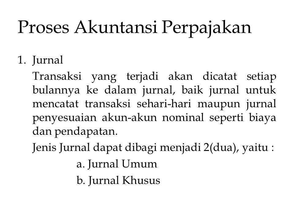 Proses Akuntansi Perpajakan 1.Jurnal Transaksi yang terjadi akan dicatat setiap bulannya ke dalam jurnal, baik jurnal untuk mencatat transaksi sehari-