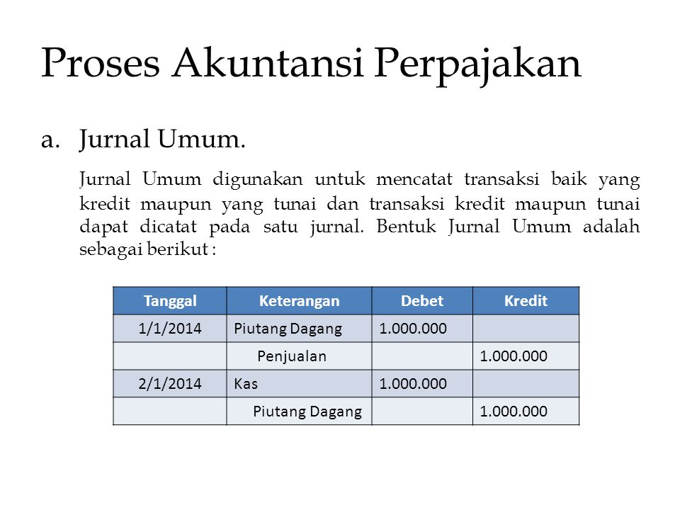 Proses Akuntansi Perpajakan a.Jurnal Umum. Jurnal Umum digunakan untuk mencatat transaksi baik yang kredit maupun yang tunai dan transaksi kredit maup