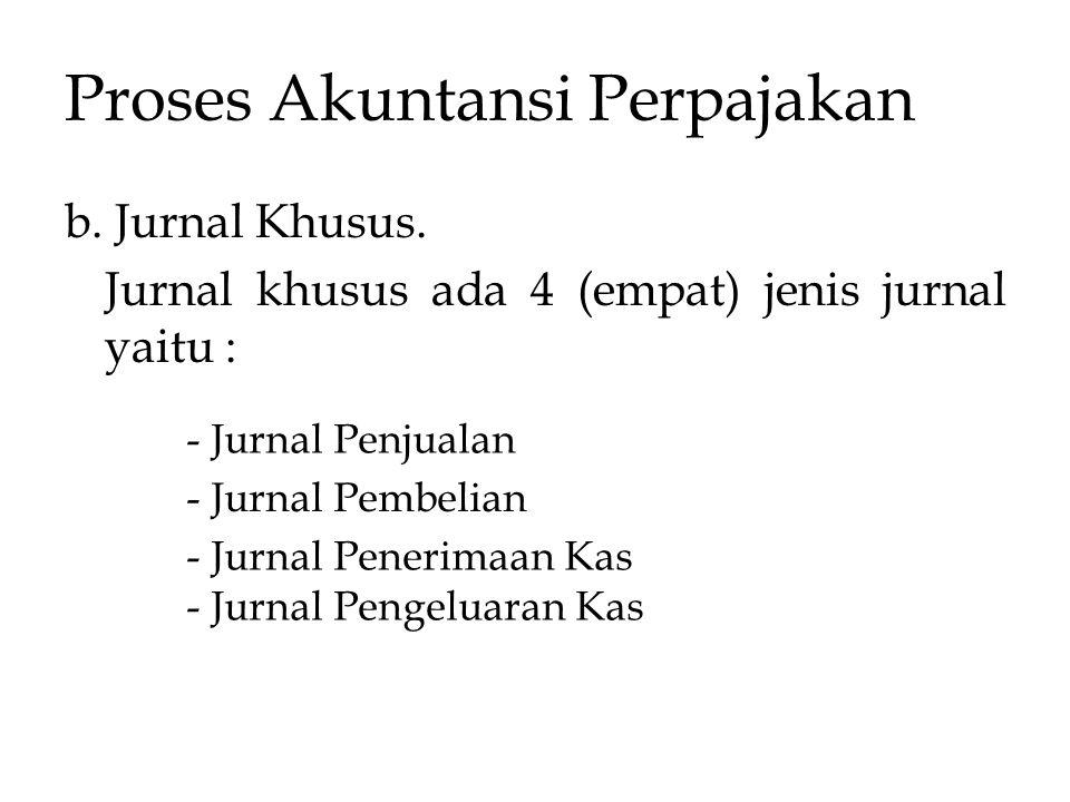 Proses Akuntansi Perpajakan b. Jurnal Khusus. Jurnal khusus ada 4 (empat) jenis jurnal yaitu : - Jurnal Penjualan - Jurnal Pembelian - Jurnal Penerima