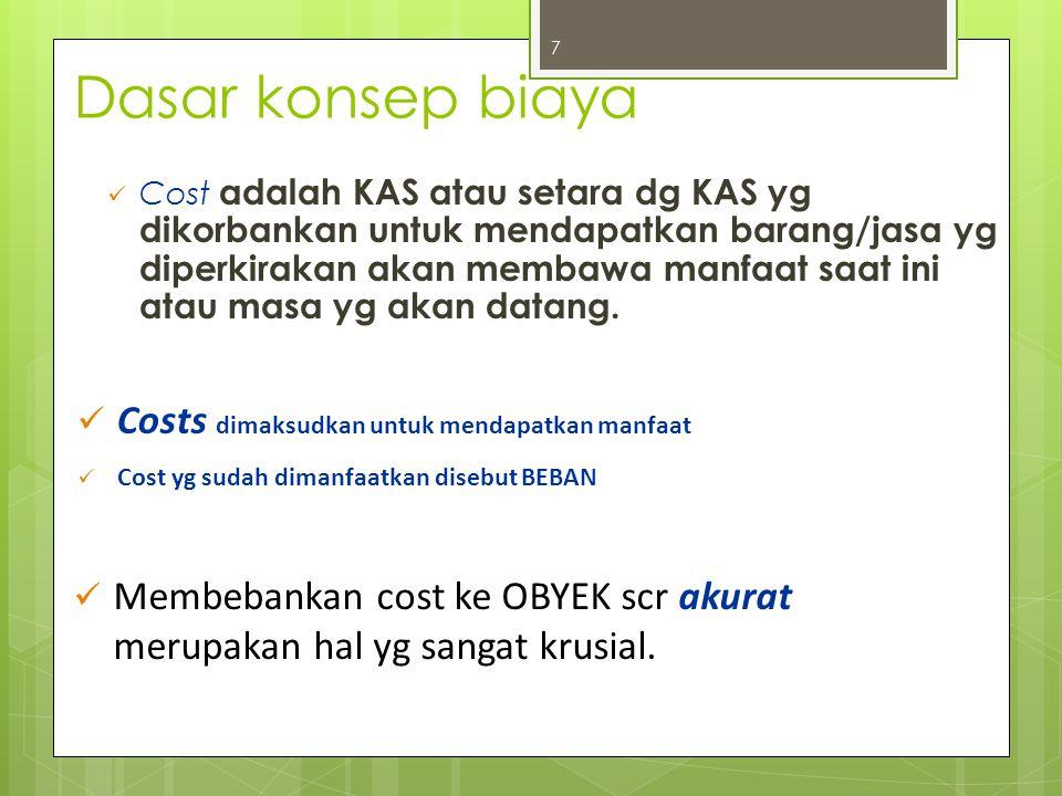Cost object Objek Biaya adalah setiap item, seperti produk,Pelanggan, departemen, proyek, aktifitas, dsb dimana biaya diukur dan dibebankan.