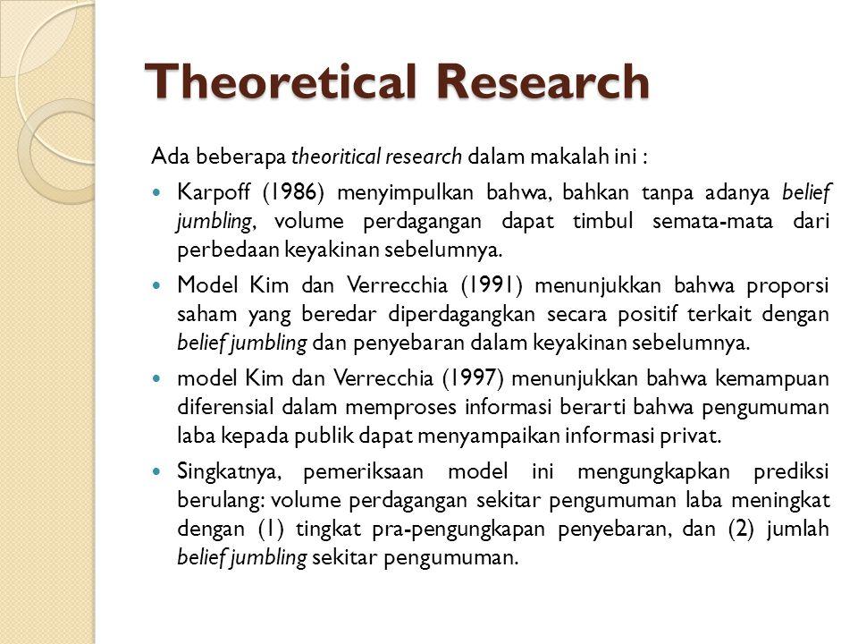Empirical Research Penelitian sebelumnya melaporkan bahwa volume perdagangan sekitar pengumuman laba menambah penyebaran dalam keyakinan sebelumnya (Atiase dan Bamber 1994) dan perubahan dalam penyebaran (Ziebart 1990).