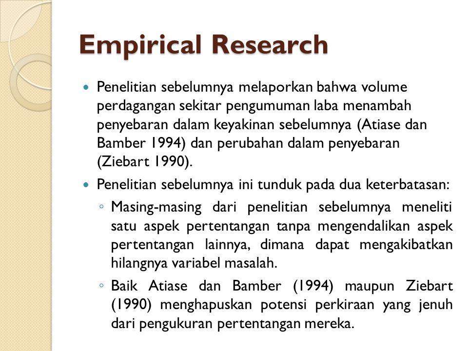 Empirical Research Penelitian sebelumnya melaporkan bahwa volume perdagangan sekitar pengumuman laba menambah penyebaran dalam keyakinan sebelumnya (A
