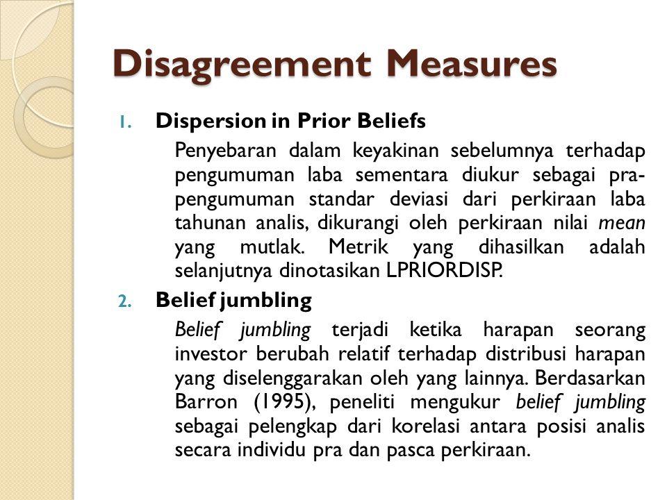 Disagreement Measures 1. Dispersion in Prior Beliefs Penyebaran dalam keyakinan sebelumnya terhadap pengumuman laba sementara diukur sebagai pra- peng