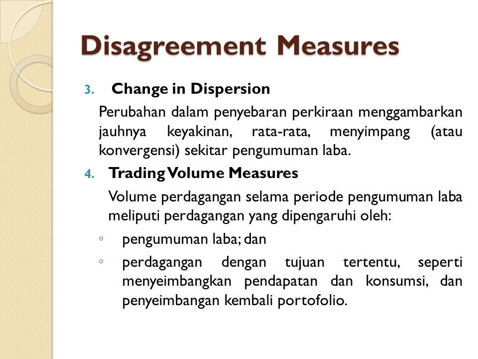 Disagreement Measures 3. Change in Dispersion Perubahan dalam penyebaran perkiraan menggambarkan jauhnya keyakinan, rata-rata, menyimpang (atau konver
