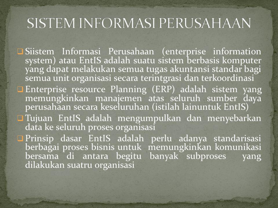 Sistem Informasi Pemasaran Sistem Informasi Sumber Daya informasi Sistem Informasi Manufaktur Sistem Informasi Sumber Daya Manusia Sistem Informasi Keuangan EIS EntIS Data semakin bersifat luas Pencataan transaksi Perencanaan dan pengendalian Data terinci
