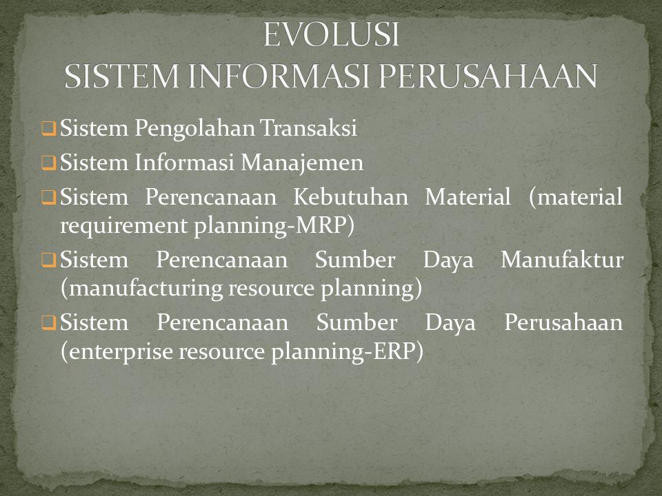  Sistem Pengolahan Transaksi  Sistem Informasi Manajemen  Sistem Perencanaan Kebutuhan Material (material requirement planning-MRP)  Sistem Perencanaan Sumber Daya Manufaktur (manufacturing resource planning)  Sistem Perencanaan Sumber Daya Perusahaan (enterprise resource planning-ERP)