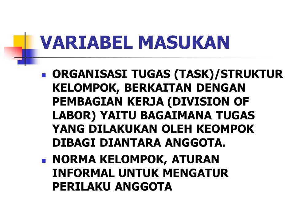 VARIABEL MASUKAN ORGANISASI TUGAS (TASK)/STRUKTUR KELOMPOK, BERKAITAN DENGAN PEMBAGIAN KERJA (DIVISION OF LABOR) YAITU BAGAIMANA TUGAS YANG DILAKUKAN OLEH KEOMPOK DIBAGI DIANTARA ANGGOTA.