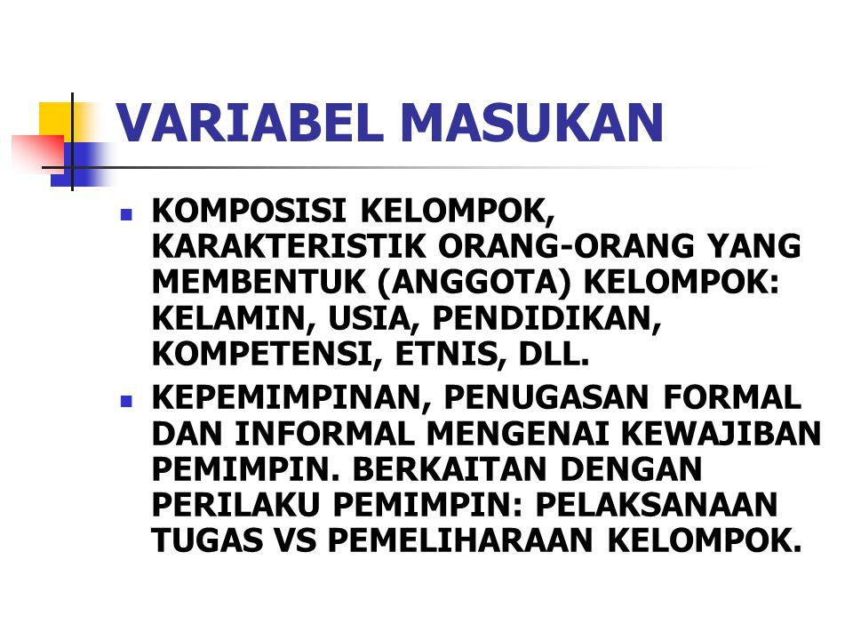 VARIABEL MASUKAN KOMPOSISI KELOMPOK, KARAKTERISTIK ORANG-ORANG YANG MEMBENTUK (ANGGOTA) KELOMPOK: KELAMIN, USIA, PENDIDIKAN, KOMPETENSI, ETNIS, DLL.