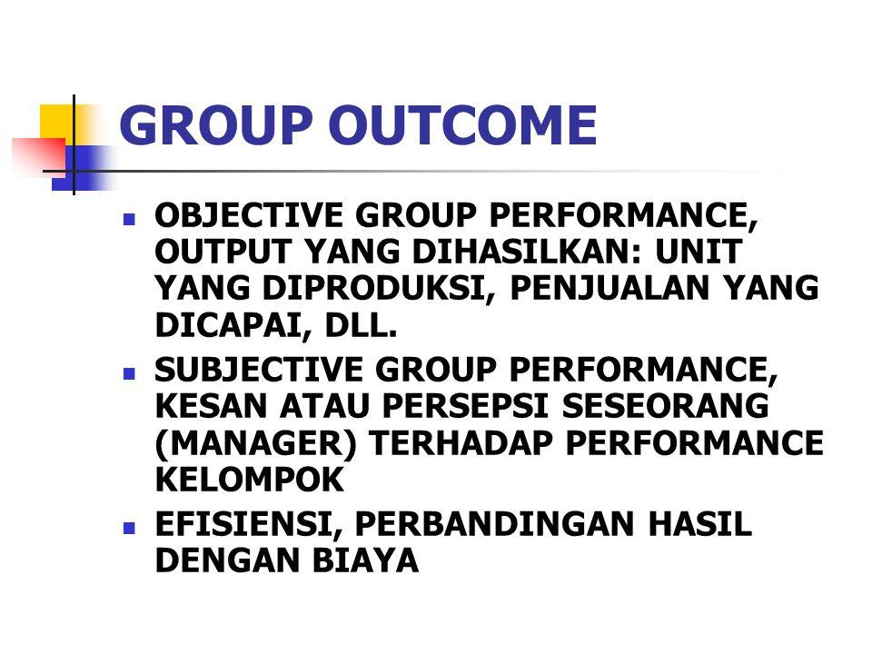 GROUP OUTCOME OBJECTIVE GROUP PERFORMANCE, OUTPUT YANG DIHASILKAN: UNIT YANG DIPRODUKSI, PENJUALAN YANG DICAPAI, DLL.