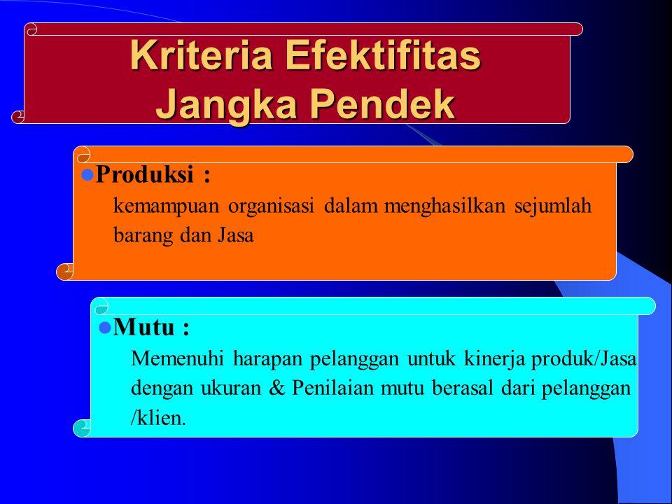Kriteria Efektifitas Jangka Pendek Produksi : kemampuan organisasi dalam menghasilkan sejumlah barang dan Jasa Mutu : Memenuhi harapan pelanggan untuk kinerja produk/Jasa dengan ukuran & Penilaian mutu berasal dari pelanggan /klien.