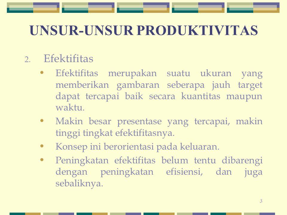14 PENDEKATAN RASIO OUTPUT/INPUT Pengukuran produktivitas parsial, produktivitas faktor total maupun produktivitas total, dapat menggunakan satuan fisik dari output dan input (ukuran berat, panjang, isi, dll) atau satuan moneter dari output dan input (dollar, rupiah, dll).
