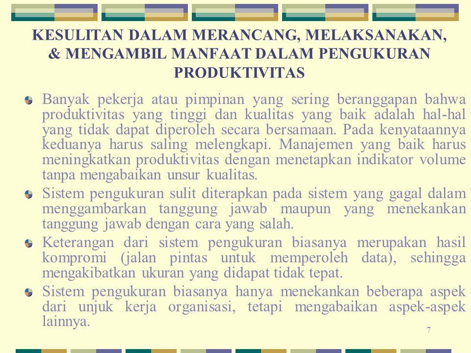 8 MODEL PENGUKURAN PRODUKTIVITAS DALAM SISTEM INDUSTRI 1.