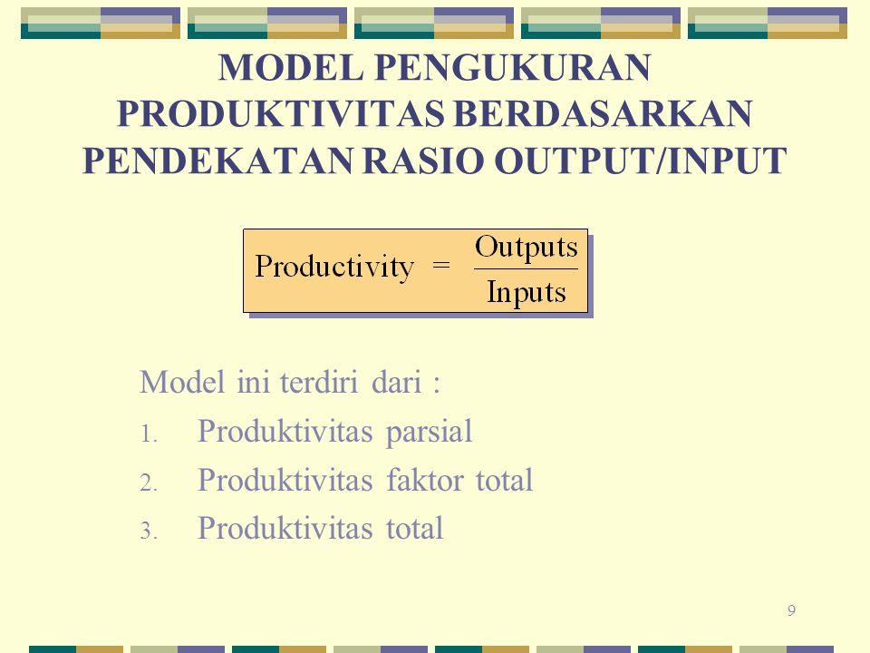 9 MODEL PENGUKURAN PRODUKTIVITAS BERDASARKAN PENDEKATAN RASIO OUTPUT/INPUT Model ini terdiri dari : 1. Produktivitas parsial 2. Produktivitas faktor t