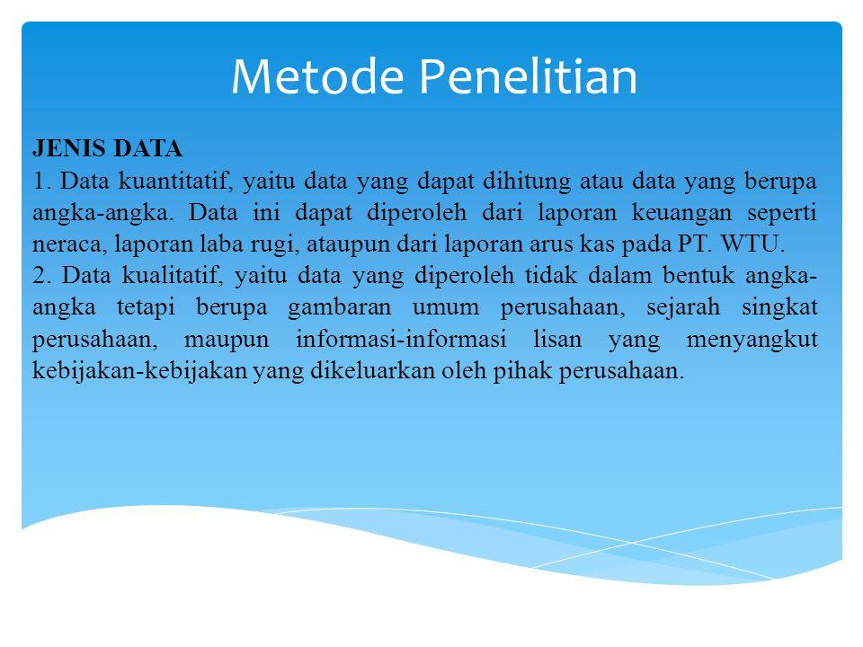 Metode Penelitian JENIS DATA 1. Data kuantitatif, yaitu data yang dapat dihitung atau data yang berupa angka-angka. Data ini dapat diperoleh dari lapo