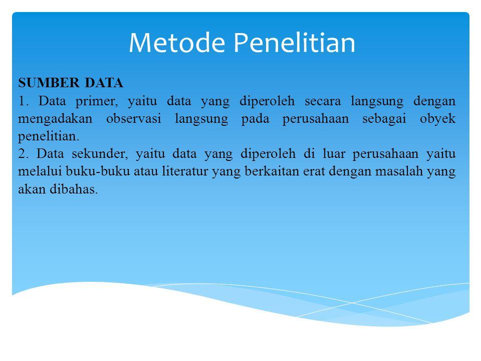 Metode Penelitian SUMBER DATA 1. Data primer, yaitu data yang diperoleh secara langsung dengan mengadakan observasi langsung pada perusahaan sebagai o