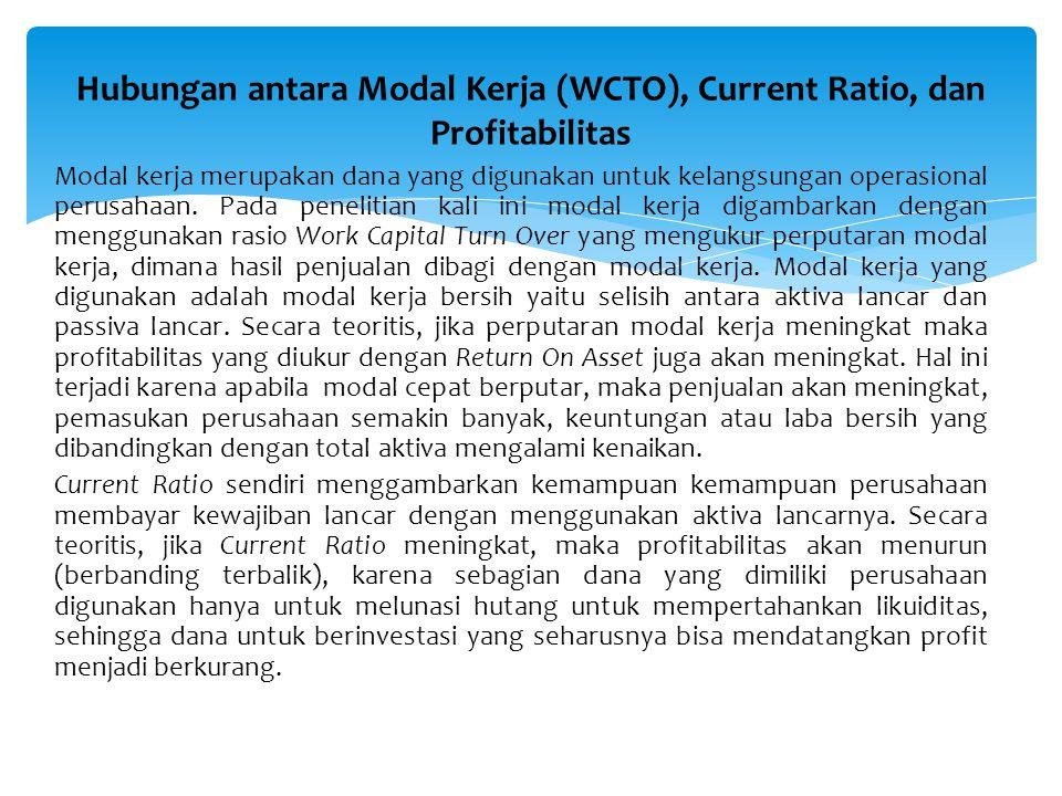 RUMUSAN MASALAH Apakah modal kerja yang digunakan telah optimal dan dapat meningkatkan profitabilitas pada PT.