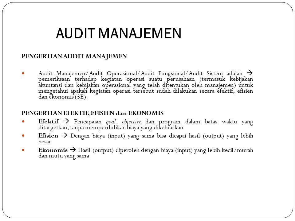 AUDIT MANAJEMEN PENGERTIAN AUDIT MANAJEMEN Audit Manajemen/Audit Operasional/Audit Fungsional/Audit Sistem adalah  pemeriksaan terhadap kegiatan oper