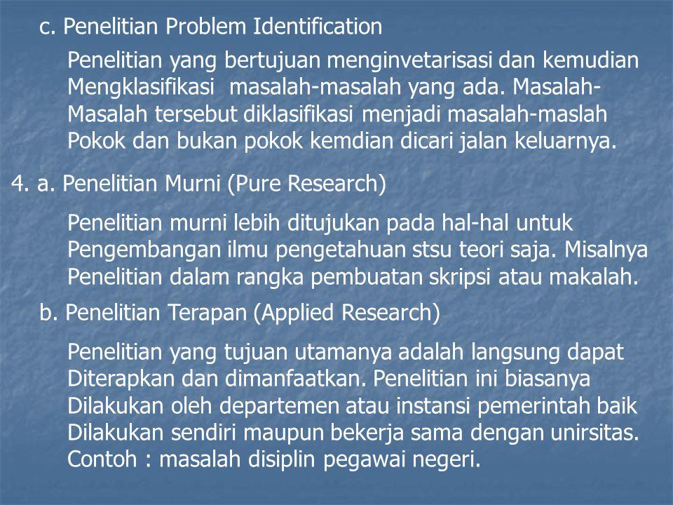 c. Penelitian Problem Identification Penelitian yang bertujuan menginvetarisasi dan kemudian Mengklasifikasi masalah-masalah yang ada. Masalah- Masala