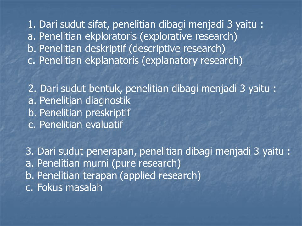 1.Dari sudut sifat, penelitian dibagi menjadi 3 yaitu : a.Penelitian ekploratoris (explorative research) b.Penelitian deskriptif (descriptive research