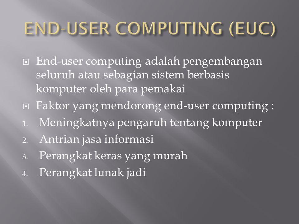  End-user computing adalah pengembangan seluruh atau sebagian sistem berbasis komputer oleh para pemakai  Faktor yang mendorong end-user computing : 1.