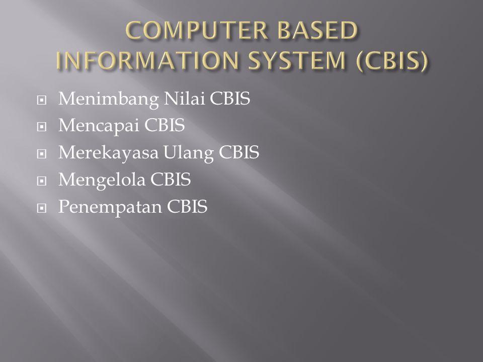  Menimbang Nilai CBIS  Mencapai CBIS  Merekayasa Ulang CBIS  Mengelola CBIS  Penempatan CBIS