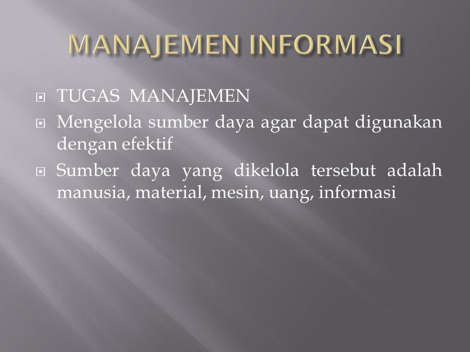  Manajemen Informasi saat ini menjadi hal yang mendapat perhatian besar dari para manajer  Penyebab utamanya : 1.