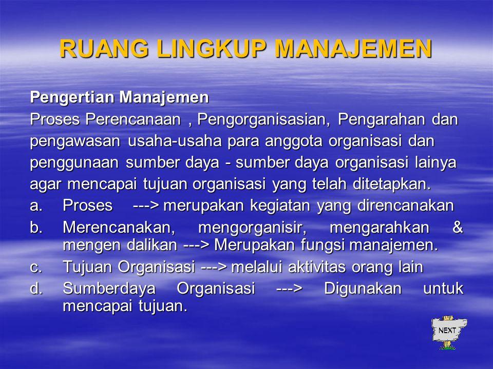 RUANG LINGKUP MANAJEMEN Pengertian Manajemen Proses Perencanaan, Pengorganisasian, Pengarahan dan pengawasan usaha-usaha para anggota organisasi dan penggunaan sumber daya - sumber daya organisasi lainya agar mencapai tujuan organisasi yang telah ditetapkan.