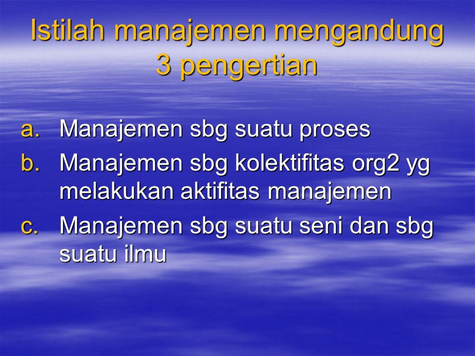 Istilah manajemen mengandung 3 pengertian a.Manajemen sbg suatu proses b.Manajemen sbg kolektifitas org2 yg melakukan aktifitas manajemen c.Manajemen sbg suatu seni dan sbg suatu ilmu