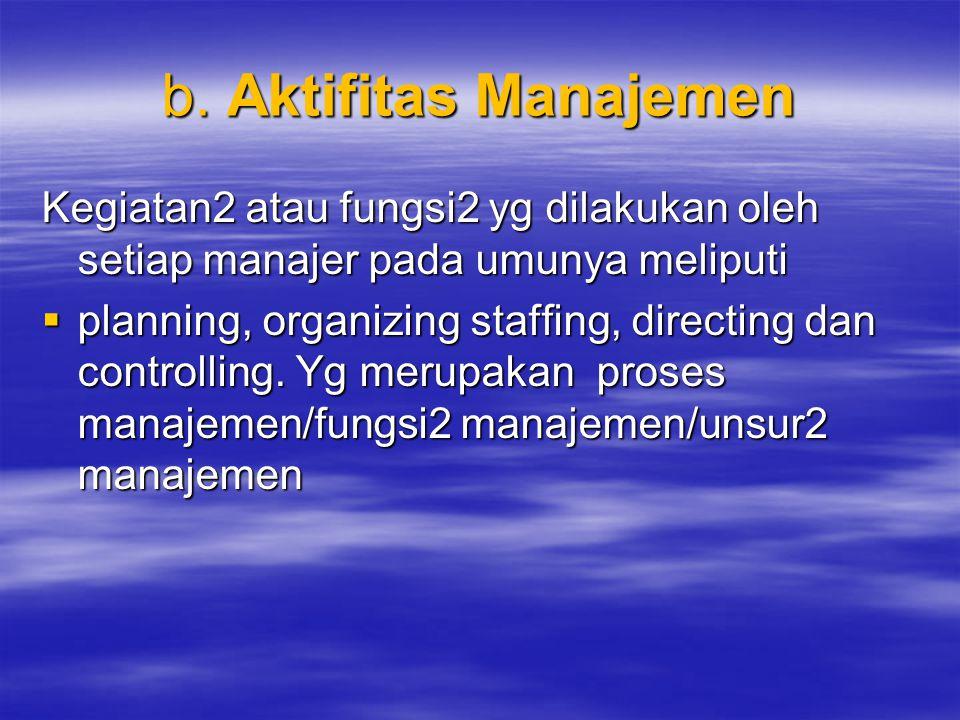 b. Aktifitas Manajemen Kegiatan2 atau fungsi2 yg dilakukan oleh setiap manajer pada umunya meliputi  planning, organizing staffing, directing dan con