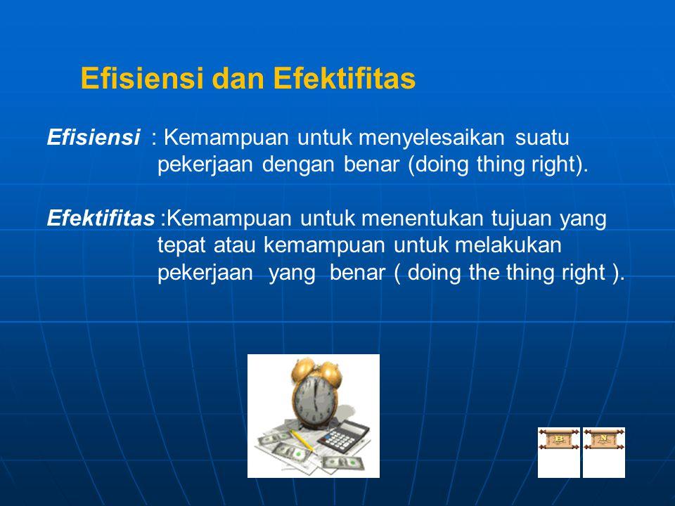 Efisiensi dan Efektifitas Efisiensi : Kemampuan untuk menyelesaikan suatu pekerjaan dengan benar (doing thing right). Efektifitas :Kemampuan untuk men
