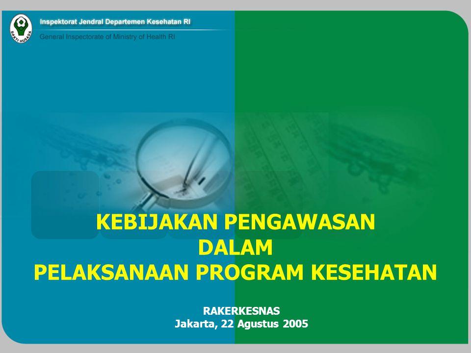 KEBIJAKAN PENGAWASAN DALAM PELAKSANAAN PROGRAM KESEHATAN RAKERKESNAS Jakarta, 22 Agustus 2005