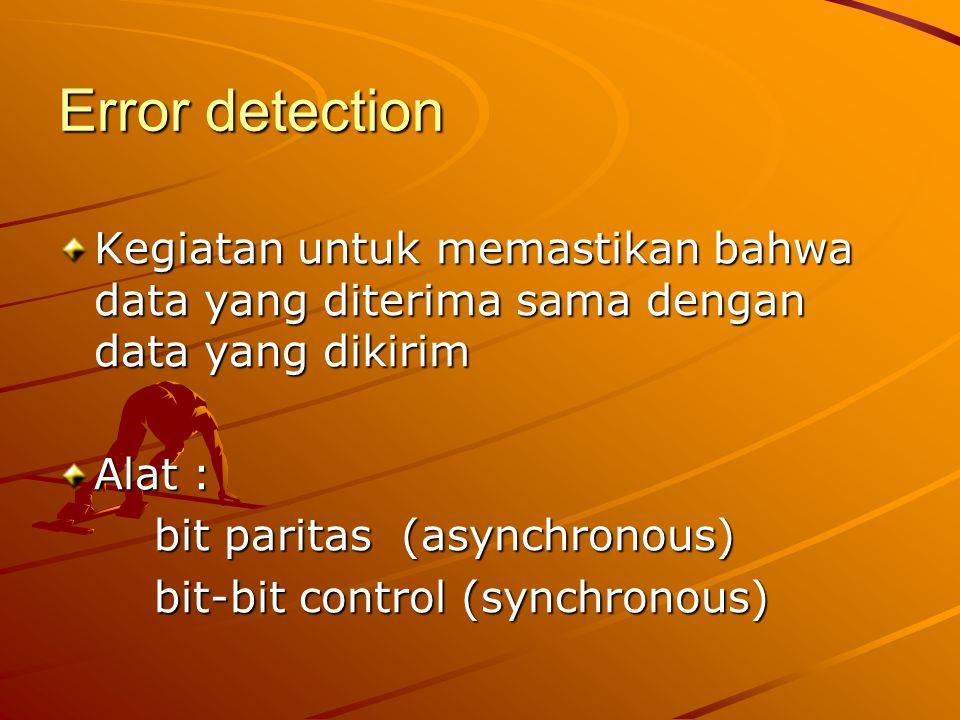 Error detection Kegiatan untuk memastikan bahwa data yang diterima sama dengan data yang dikirim Alat : bit paritas (asynchronous) bit-bit control (sy