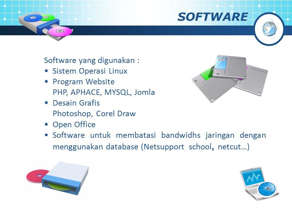 SOFTWARE Software yang digunakan : Sistem Operasi Linux Program Website PHP, APHACE, MYSQL, Jomla Desain Grafis Photoshop, Corel Draw Open Office Soft
