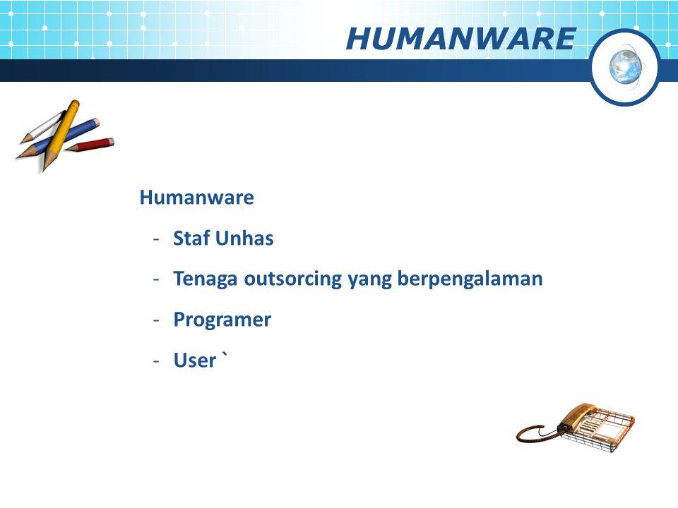 Humanware -Staf Unhas -Tenaga outsorcing yang berpengalaman -Programer -User ` HUMANWARE