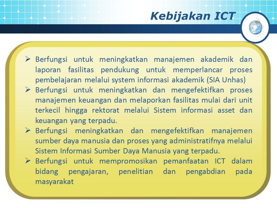 Kebijakan ICT  Menjamin bahwa seluruh sivitas akademika; mahasiswa, staff pengajar, staf administrative, dan pimpinan structural mampu menggunakan dan memanfaatkan ICT secara penuh untuk mendukung tupoksi mereka.