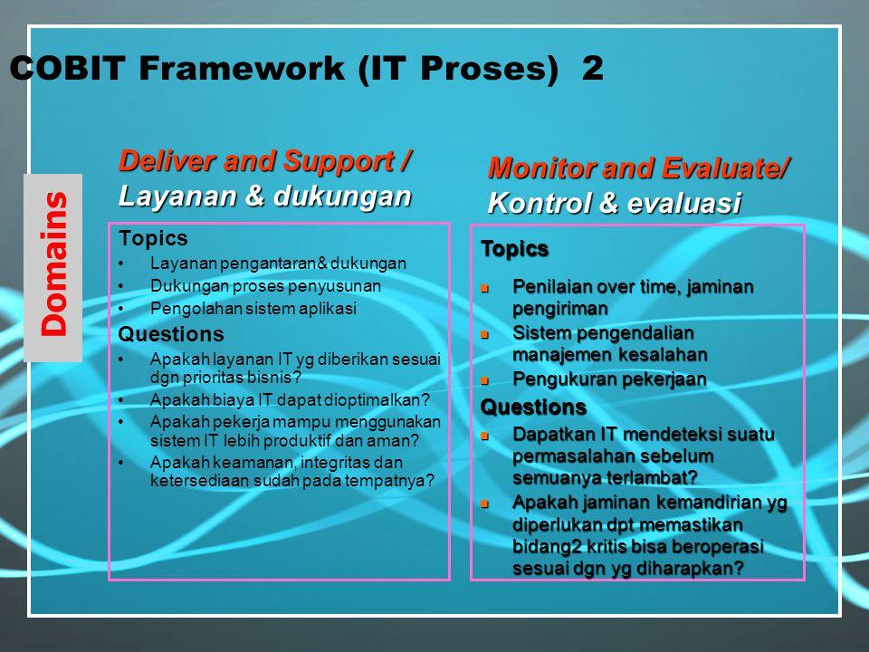 COBIT Framework (Business Requrement) 1.Efektivitas 2.Evisiensi 3.Kerahasiaan 4.Integritas 5.Ketersediaan 6.Kepatuhan 7.Keandalan