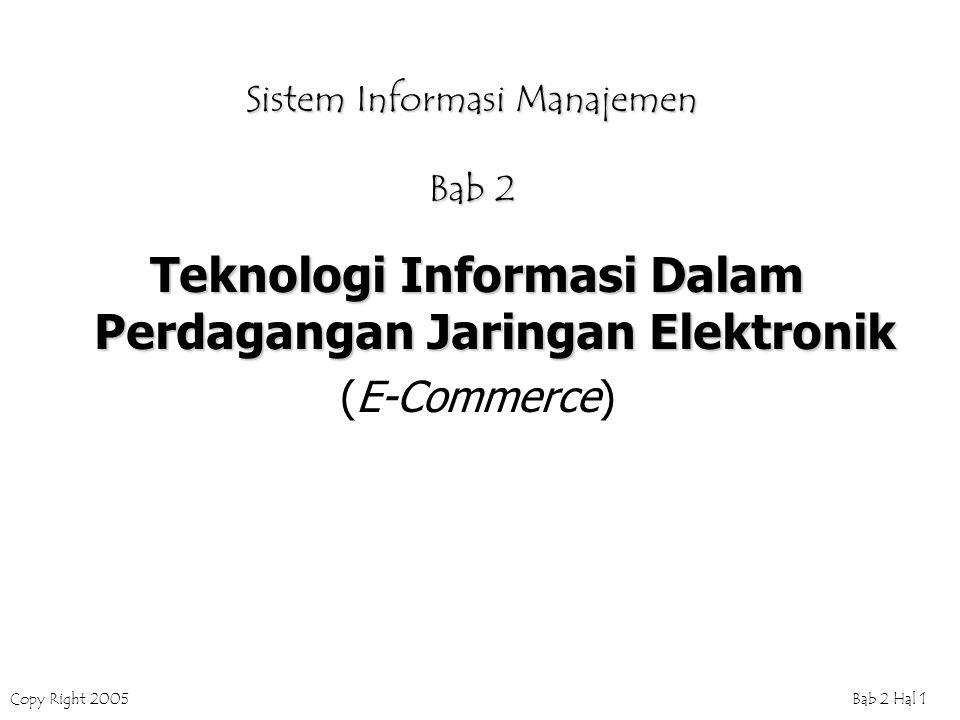 Copy Right 2005Bab 2 Hal 1 Sistem Informasi Manajemen Bab 2 Teknologi Informasi Dalam Perdagangan Jaringan Elektronik (E-Commerce)