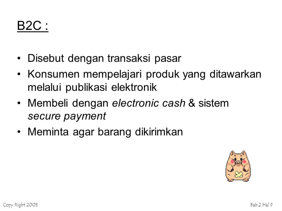 Copy Right 2005Bab 2 Hal 9 B2C : Disebut dengan transaksi pasar Konsumen mempelajari produk yang ditawarkan melalui publikasi elektronik Membeli dengan electronic cash & sistem secure payment Meminta agar barang dikirimkan