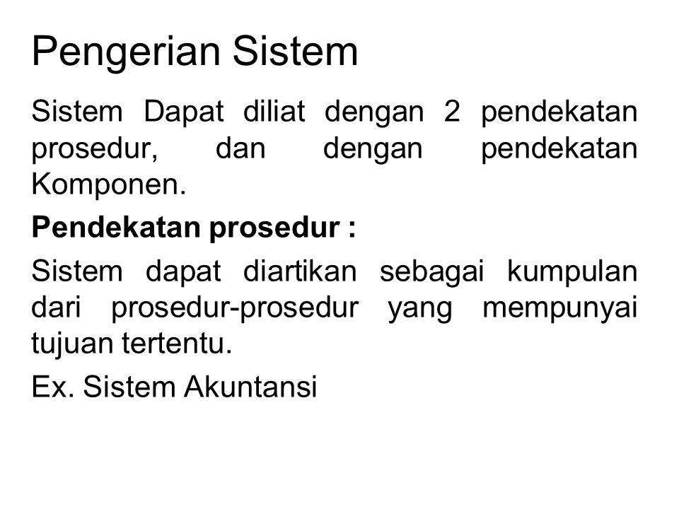 Pengerian Sistem Sistem Dapat diliat dengan 2 pendekatan prosedur, dan dengan pendekatan Komponen. Pendekatan prosedur : Sistem dapat diartikan sebaga