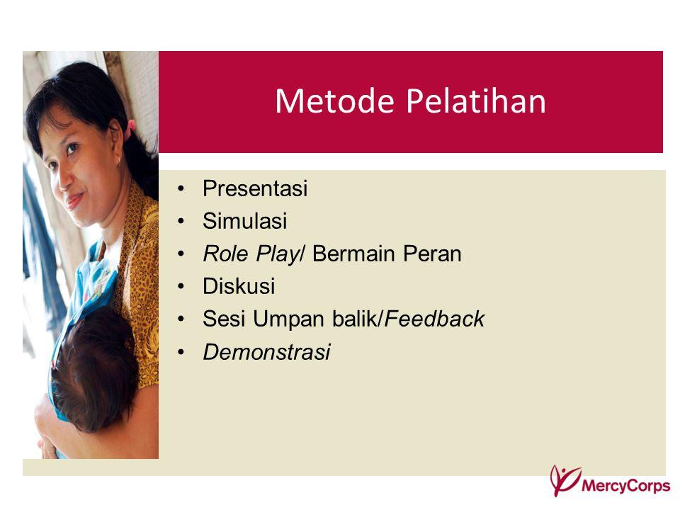 Presentasi Simulasi Role Play/ Bermain Peran Diskusi Sesi Umpan balik/Feedback Demonstrasi Metode Pelatihan