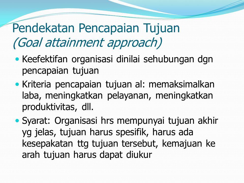 Pendekatan Pencapaian Tujuan (Goal attainment approach) Keefektifan organisasi dinilai sehubungan dgn pencapaian tujuan Kriteria pencapaian tujuan al: memaksimalkan laba, meningkatkan pelayanan, meningkatkan produktivitas, dll.