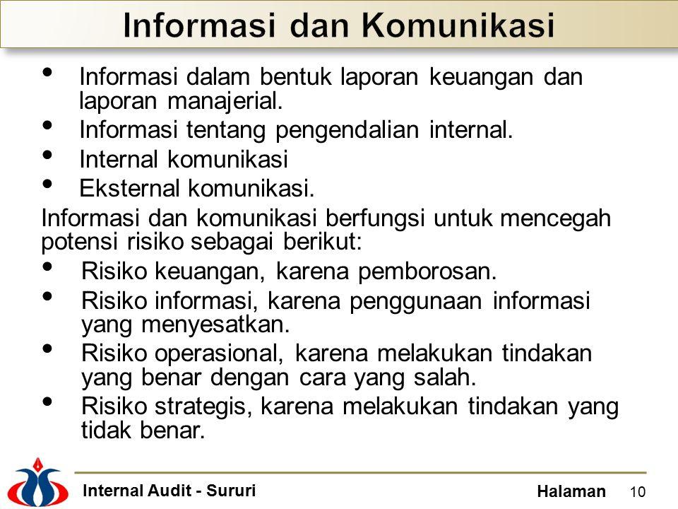 Internal Audit - Sururi Halaman Informasi dalam bentuk laporan keuangan dan laporan manajerial.