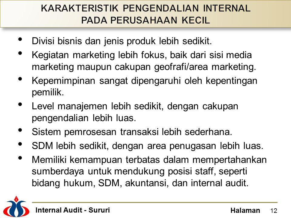 Internal Audit - Sururi Halaman Divisi bisnis dan jenis produk lebih sedikit.